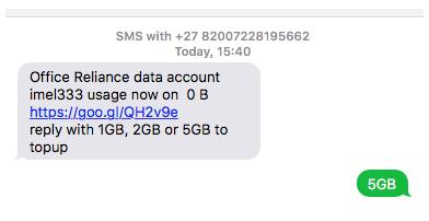 SMS Topups
