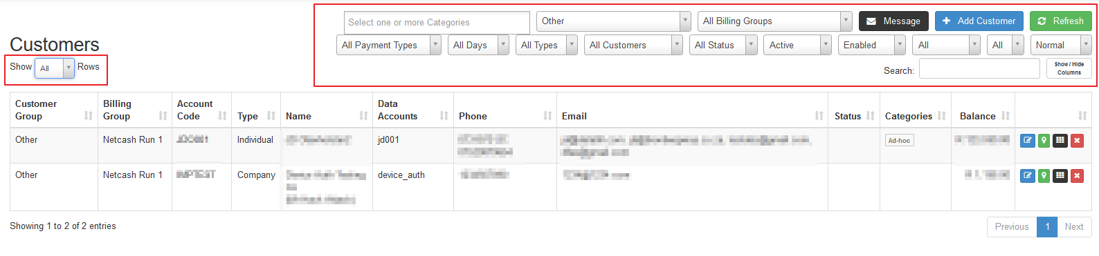 customer list filters
