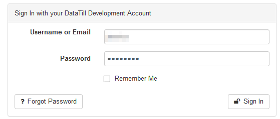 sign in with username or email and password