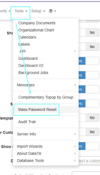 Mass Customer ID Password Reset Tool - DataTill