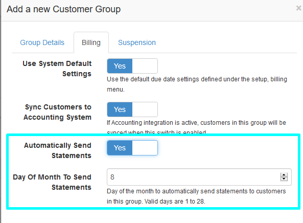 auto send statements to customer group