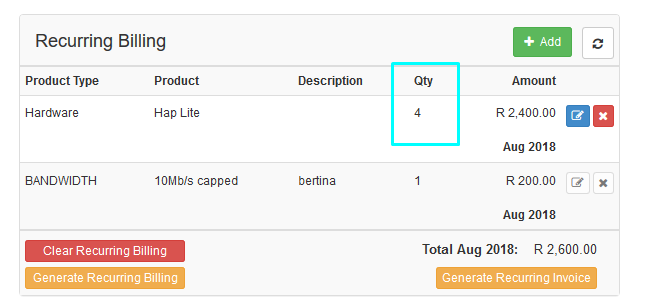 quantity on recurring billing entry 2